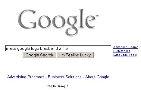 Make Google logo black and white