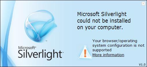 MS Silverlight nepodporuje