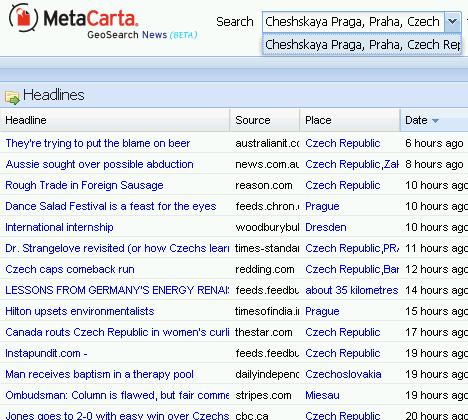 MetaCarta - detail