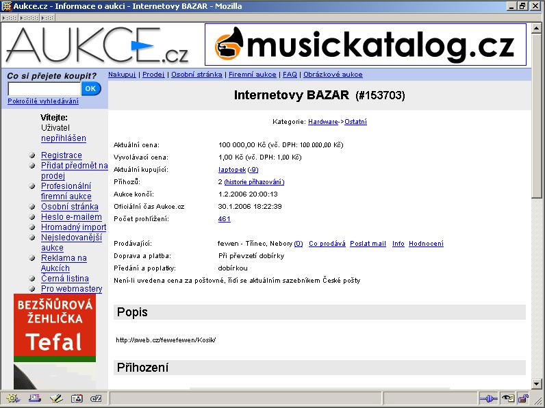 Aukce Internetového BAZARu Košík