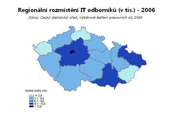 Regionální rozmístění ICT expertů