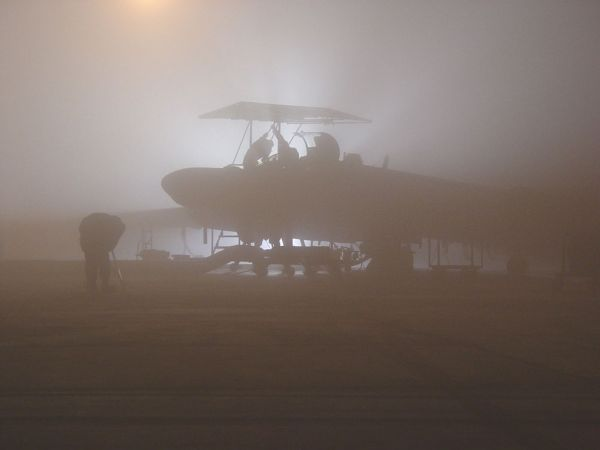 U-2 zahalený mlhou