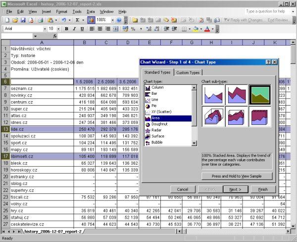 NetMonitor - práce v Excelu