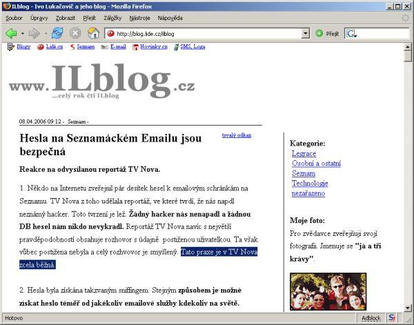 Ivo Lukačovič na IL Blogu napadl Novu z neobjektivnosti jejího zpravodajství