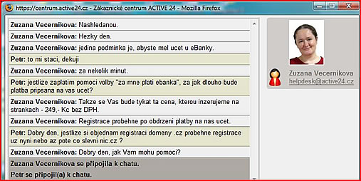 screen shot helpdesk Active24