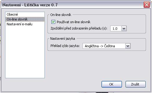 Okno s nastavením Seznam Lištičky.