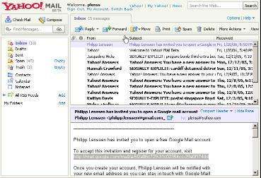 Screenshot nového mailu od Yahoo!