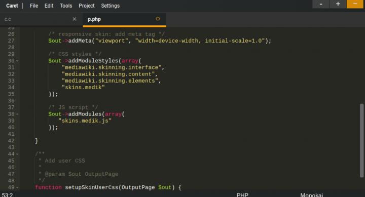 Screenshot aplikace Caret na Chromebooku.