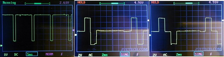 Three oscillograms.   1: pin1 versus GND   2: pin1 versus pin2 (as Oscil gnd)   2: pin1 versus pin3 (as Oscil gnd)