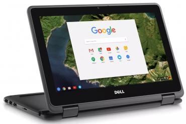 DELL Chromebook 11 3189 v tablet módu vhodném pro sledování videa.