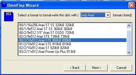 Výběr typu vytvářené diskety.