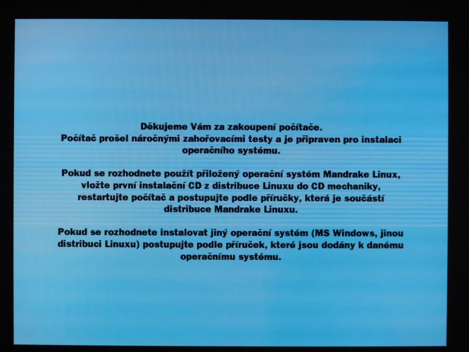 Takhle vypadá počítač dodaný s Linuxem (z konce roku 2005)