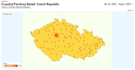 Google analytics obsahuje mapu Ceske republiky
