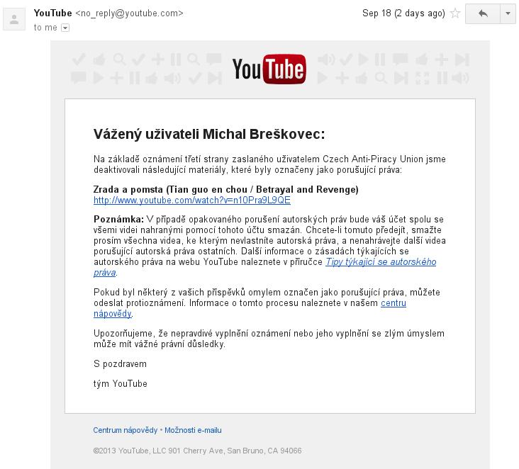 Oznámení od Google o odstranění videa z Youtube