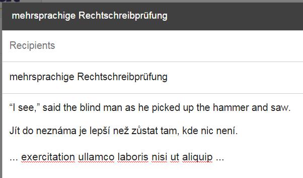 Ukázka anglicko-české kontroly pravopisu v Chromu.