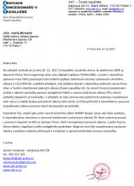 Žádost směřovaná na Ministerstvo dopravy ČR.