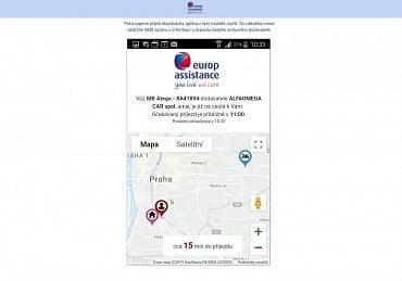 Ve svém telefonu můžete online sledovat pohyb asistenčního vozidla České pojišťovny.