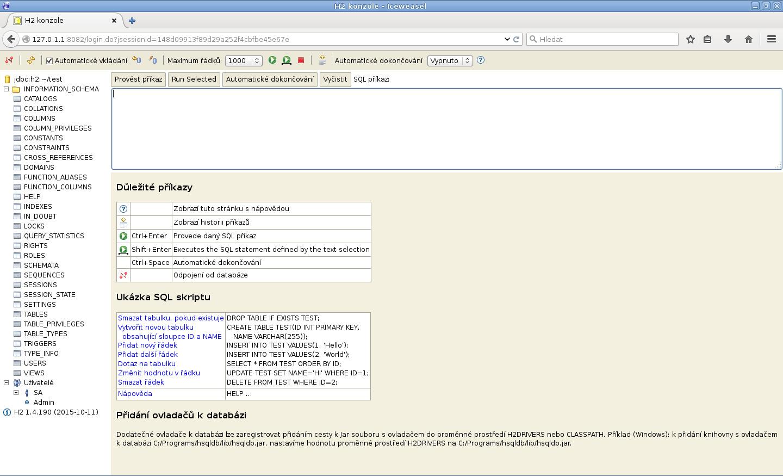JavaFX: H2 vytvoření databáze, tabulek a vložení dat