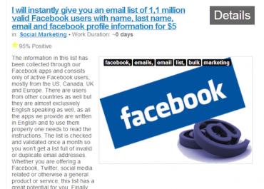 Inzerát nabízející maily uživatelů Facebooku (Zdroj: Search Engine Watch)