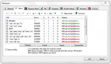 <p>Nastavení barevného zvýraznění souborů různých typů</p>