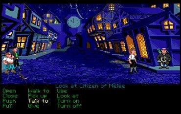 The Secret of Monkey Island - herní obrozovka - Amiga. Větší počet barev na obrazovce je opět nepřehlédnutelný.