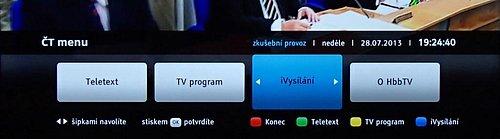 Na Toshibě pracovala i novinka, iVysílání ČT. Najdete ho v části HbbTV a zatím je ve zkušením provozu.