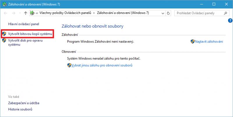 Vytvoření bitové kopie systému Windows