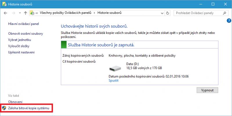 Záloha bitové kopie systému Windows