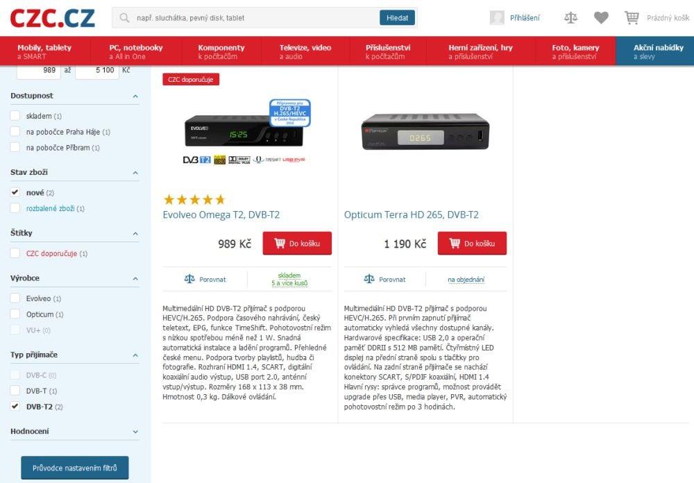 E-shopy a DVB-T2 HEVC