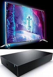 Ultra HD televizor Philips 9800 v podobě 65PUS9809 s úhlopříčkou 165 cm představuje televizor s operačním systémem Android a bezdrátovým subwooferem, který by měl být součástí dodávky. Umístit se díky své nízké výšce prý dá kamkoliv.