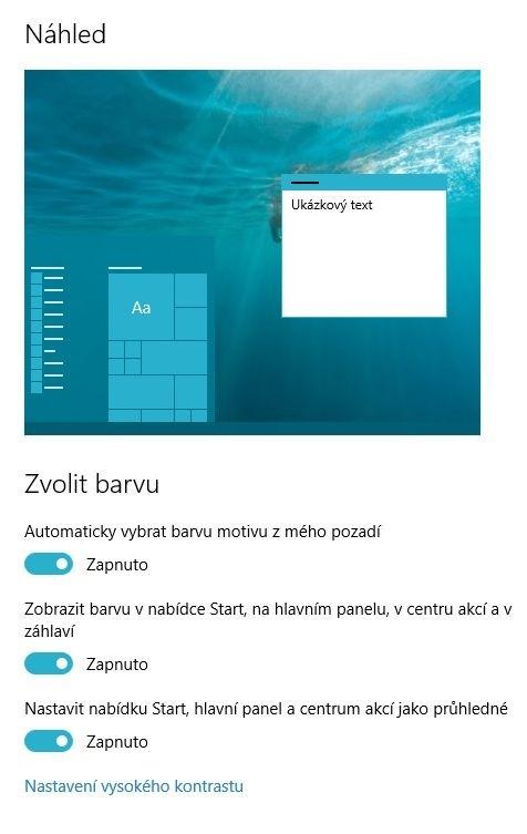 Výběr barvy pro schéma ve Windows 10