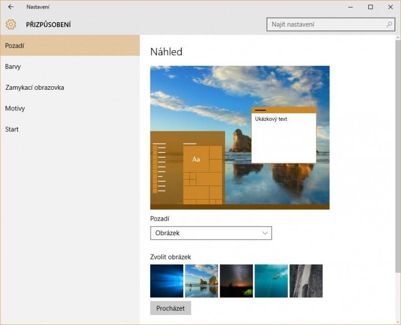 Přizpůsobení vzhledu Windows 10