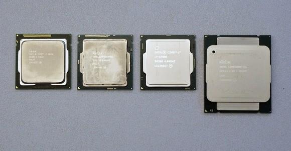 Zleva doprava jsou vidět procesory Core i7-2700K, Core i7-4790K, Skylake a nakonec gigantický Haswell-E Core i7-5960X