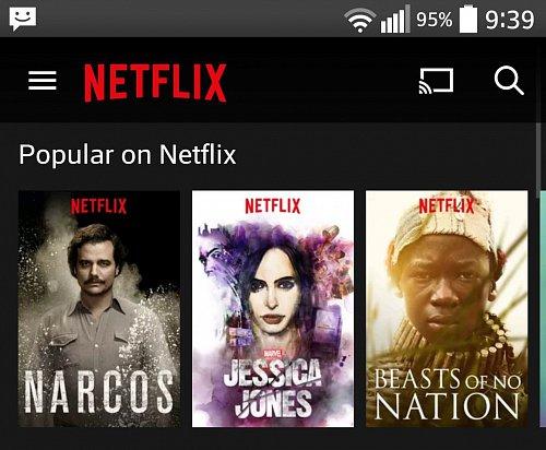 Možnost streamovat obsah z Chromecastu na televizní obrazovku je běžnou součástí mobilní aplikace Netflix