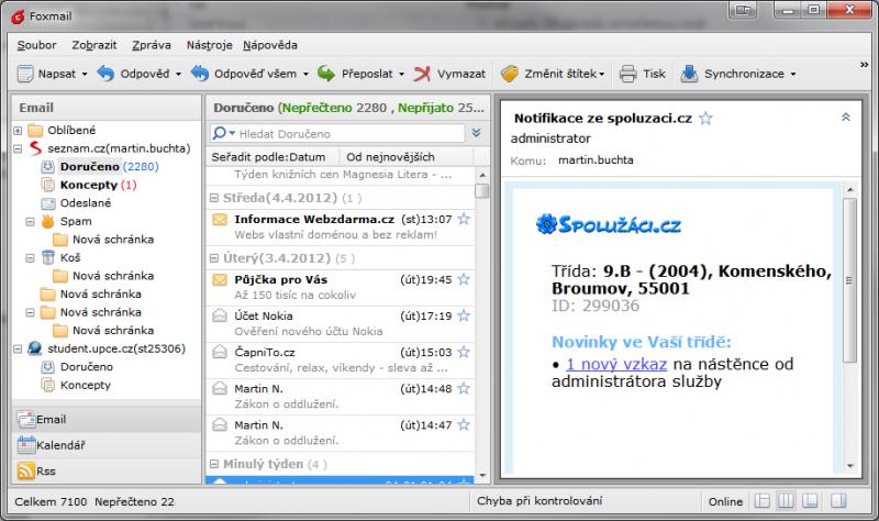 Foxmail je povedený emailový klient, který zastoupí Outlook