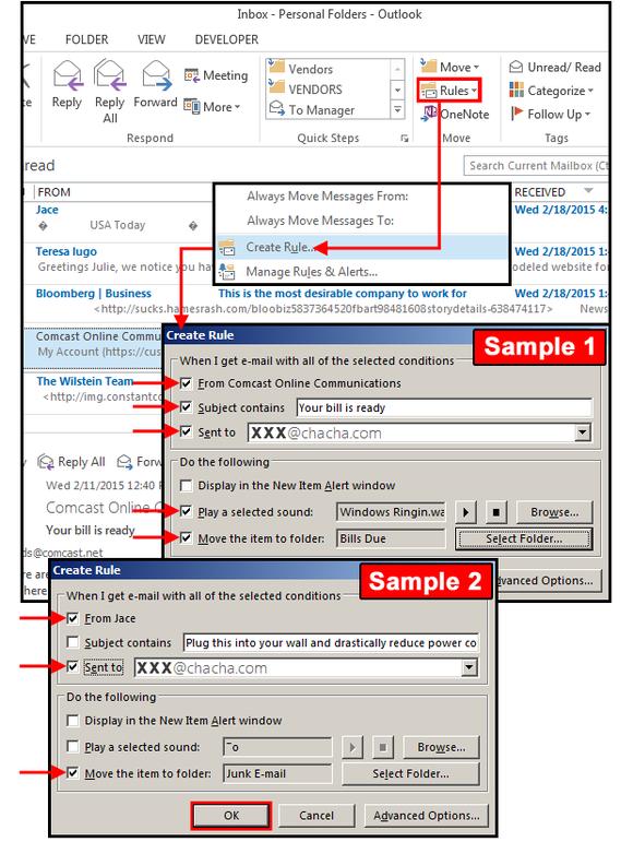 Pokud si chcete spravovat e-maily sami na základě vámi definovaných podmínek, pak použijte možnosti vytváření pravidel, která je součástí Outlooku.