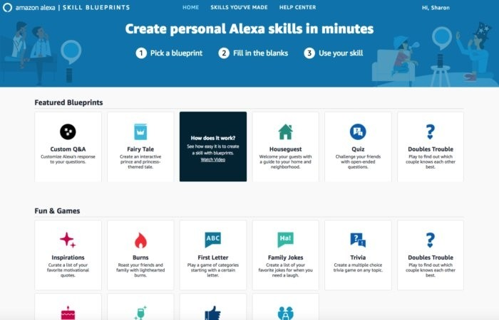 Výběr z možností dostupných v Alexa Skill Blueprints