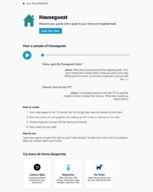 Zobrazení informační obrazovky pro Alexa Skill Blueprint pro Houseguest