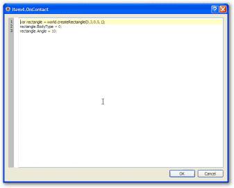 Okno pro vložení skriptu k akci OnContact.