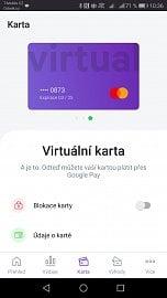 Virtuální karta Twisto v aplikaci pro Android. (05/2020)