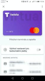 Virtuální karta Twisto v aplikaci Google Pay. (05/2020)