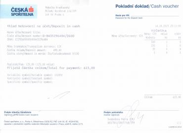 Pokladní doklad z České spořitelny o provedení vkladu hotovosti na účet do Citibank.