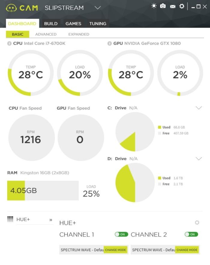Aplikace NZXT CAM obsahuje mimo jiné i funkce pro řízení osvětlení