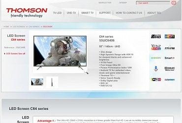 Nový Thomson 55UC6406 - na webu společnosti Thomson.