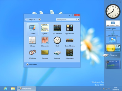 8GadgetPack přidá miniaplikace a postranní panel do Windows 8