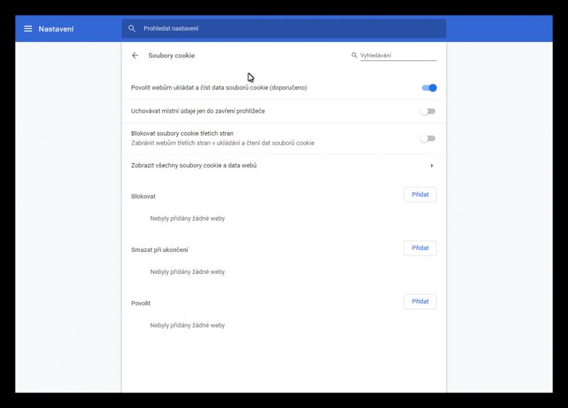 Konfigurace manipulace se soubory cookies v internetovém prohlížeči Google Chrome
