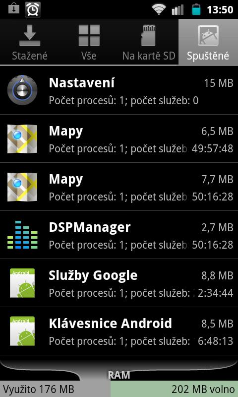 Android - sprava aplikaci