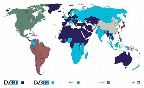 Země, které už přešly, případně potvrdily, že přejdou, na standard DVB-T2, který je zvýrazněn světlemodrou barvou. Hnacím motorem pro prodej přijímačů s jeho podporou bude zejména Rusko.