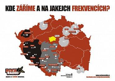 Mapa pokrytí signálem Rock Radia, prozatím bez mladoboleslavského kmitočtu. Obrázek lze zvětšit