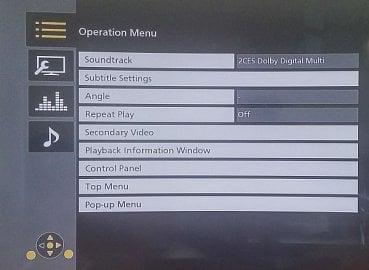 Ukázka kontextového menu při přehrávání.